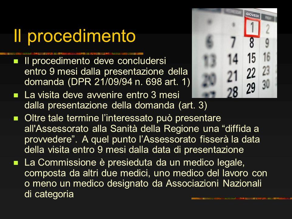Il procedimento Il procedimento deve concludersi entro 9 mesi dalla presentazione della domanda (DPR 21/09/94 n. 698 art. 1)