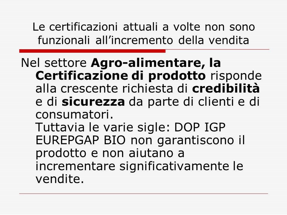 Le certificazioni attuali a volte non sono funzionali all'incremento della vendita