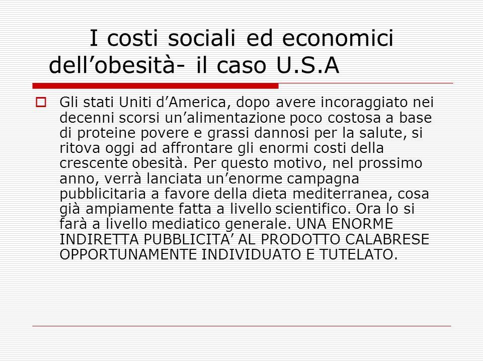 I costi sociali ed economici dell'obesità- il caso U.S.A