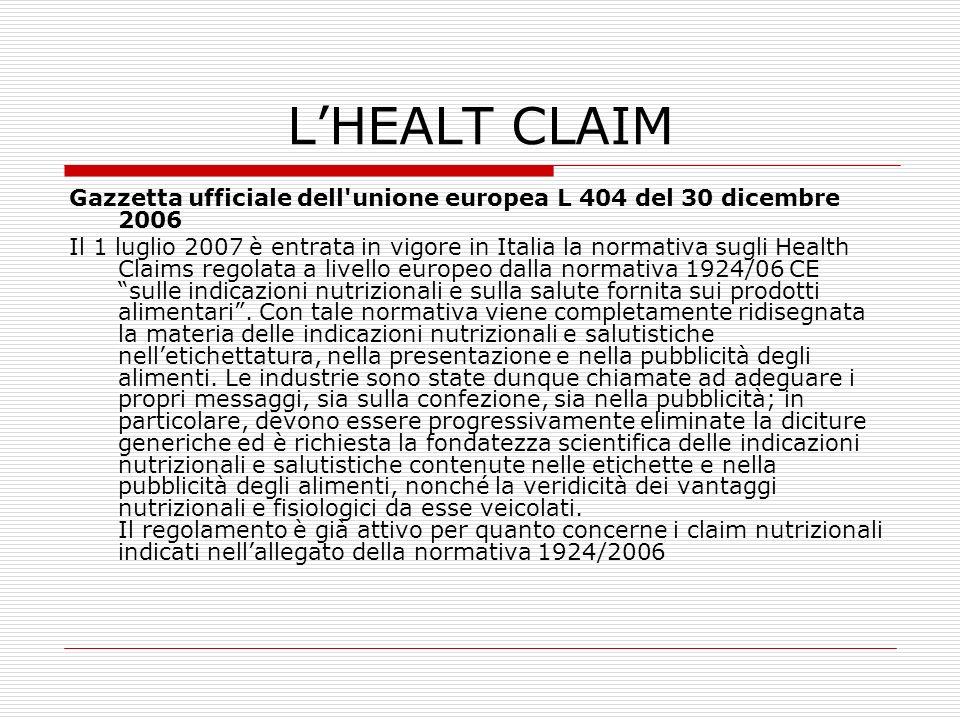 L'HEALT CLAIM Gazzetta ufficiale dell unione europea L 404 del 30 dicembre 2006.