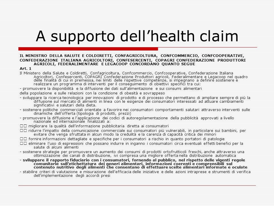 A supporto dell'health claim