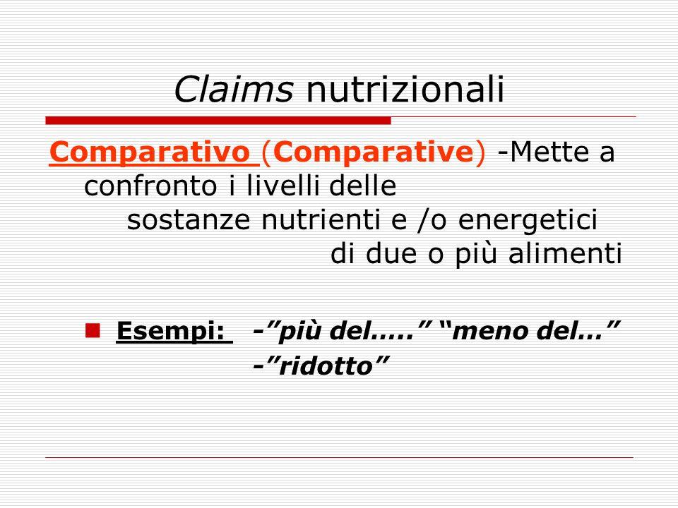 Claims nutrizionali Comparativo (Comparative) -Mette a confronto i livelli delle sostanze nutrienti e /o energetici di due o più alimenti.