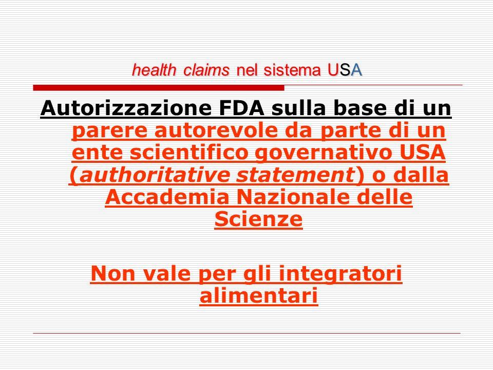 health claims nel sistema USA