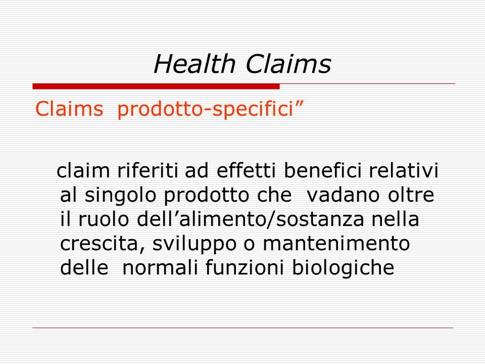 Health Claims Claims prodotto-specifici