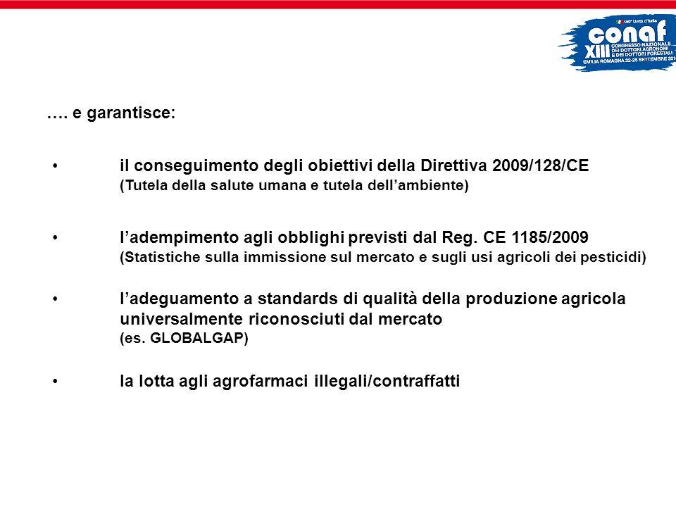 …. e garantisce: il conseguimento degli obiettivi della Direttiva 2009/128/CE (Tutela della salute umana e tutela dell'ambiente)