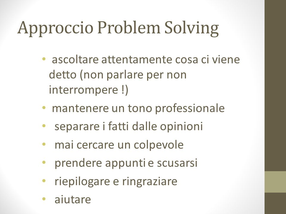 Approccio Problem Solving