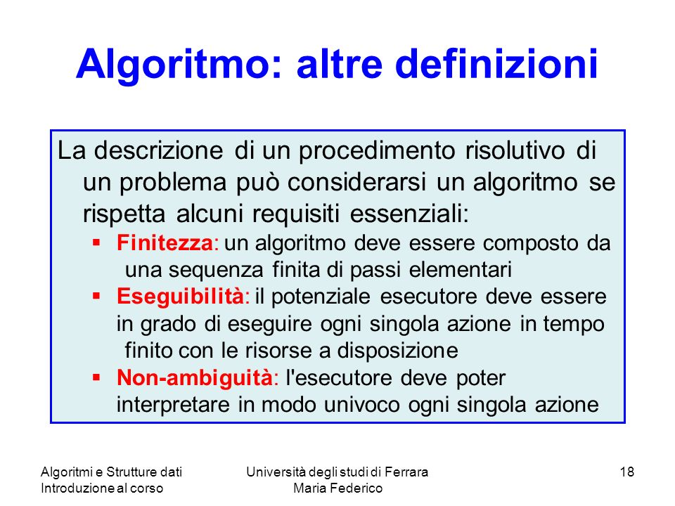 Algoritmo: altre definizioni