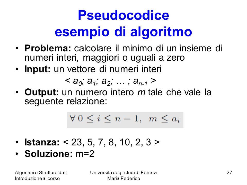 Pseudocodice esempio di algoritmo