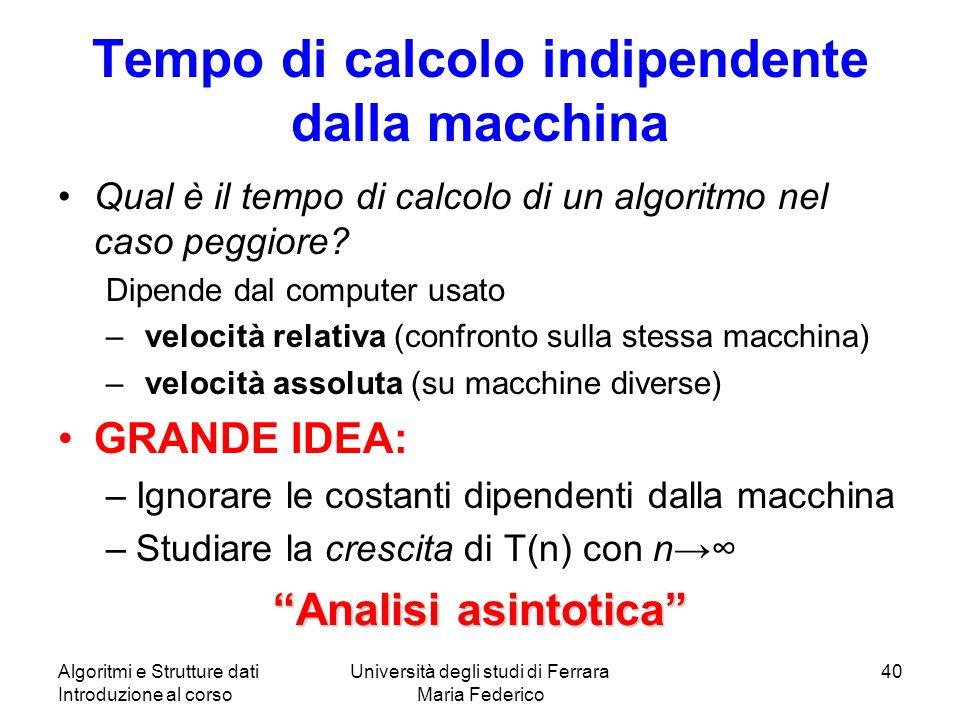 Tempo di calcolo indipendente dalla macchina