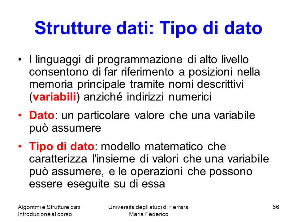 Strutture dati: Tipo di dato