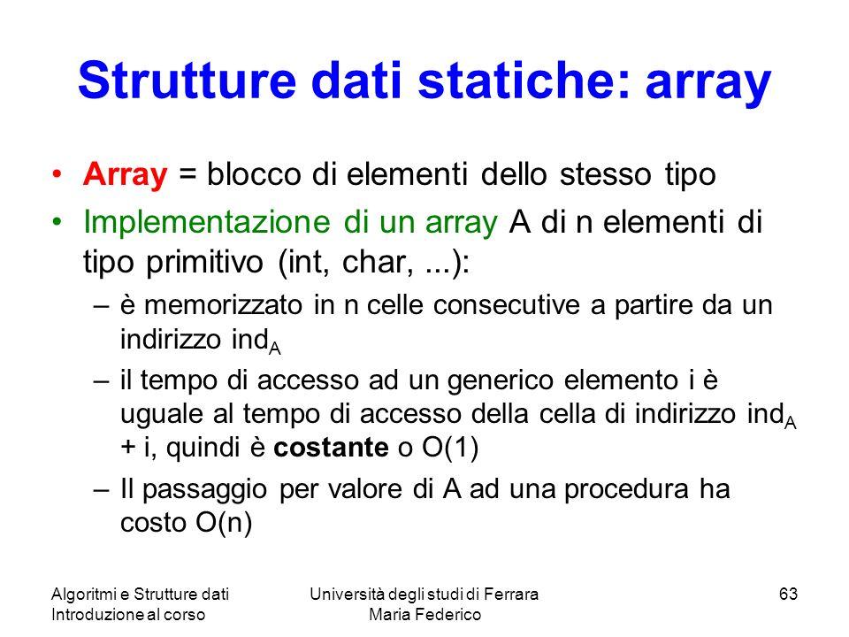 Strutture dati statiche: array
