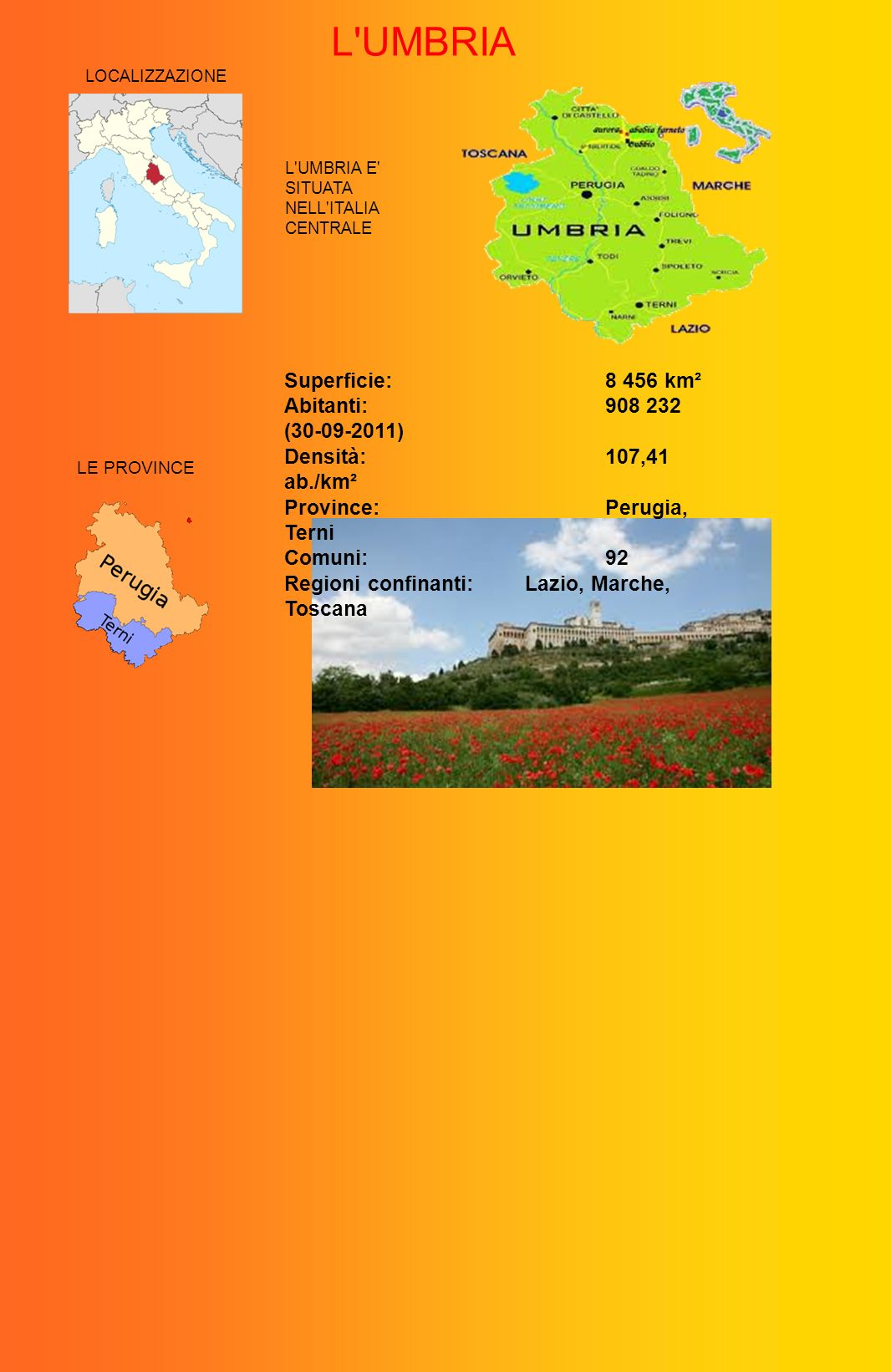 L UMBRIA Superficie: 8 456 km² Abitanti: 908 232 (30-09-2011)