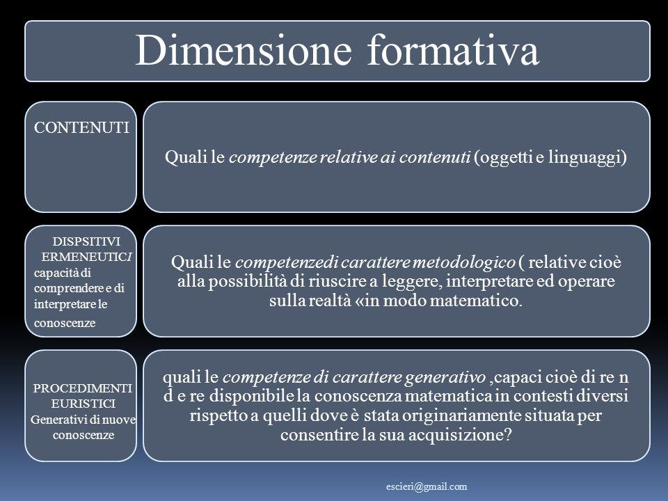 Dimensione formativa Quali le competenze relative ai contenuti (oggetti e linguaggi)