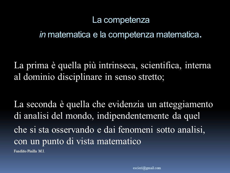La competenza in matematica e la competenza matematica.