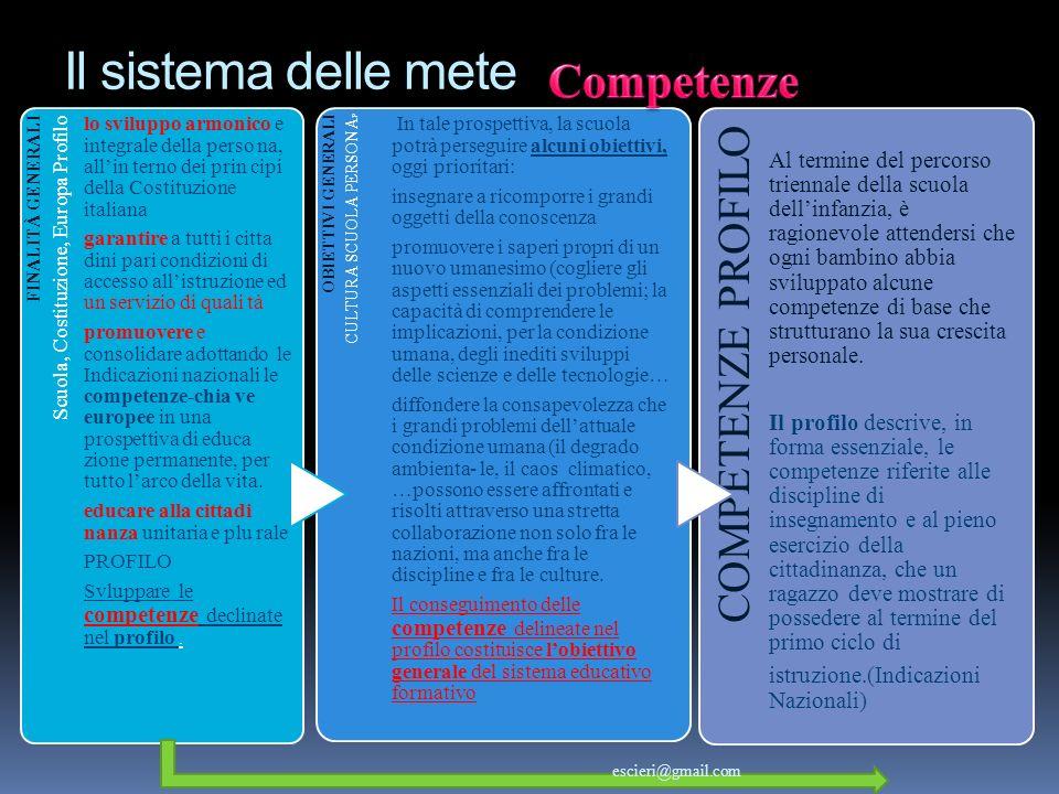 Il sistema delle mete Competenze COMPETENZE PROFILO