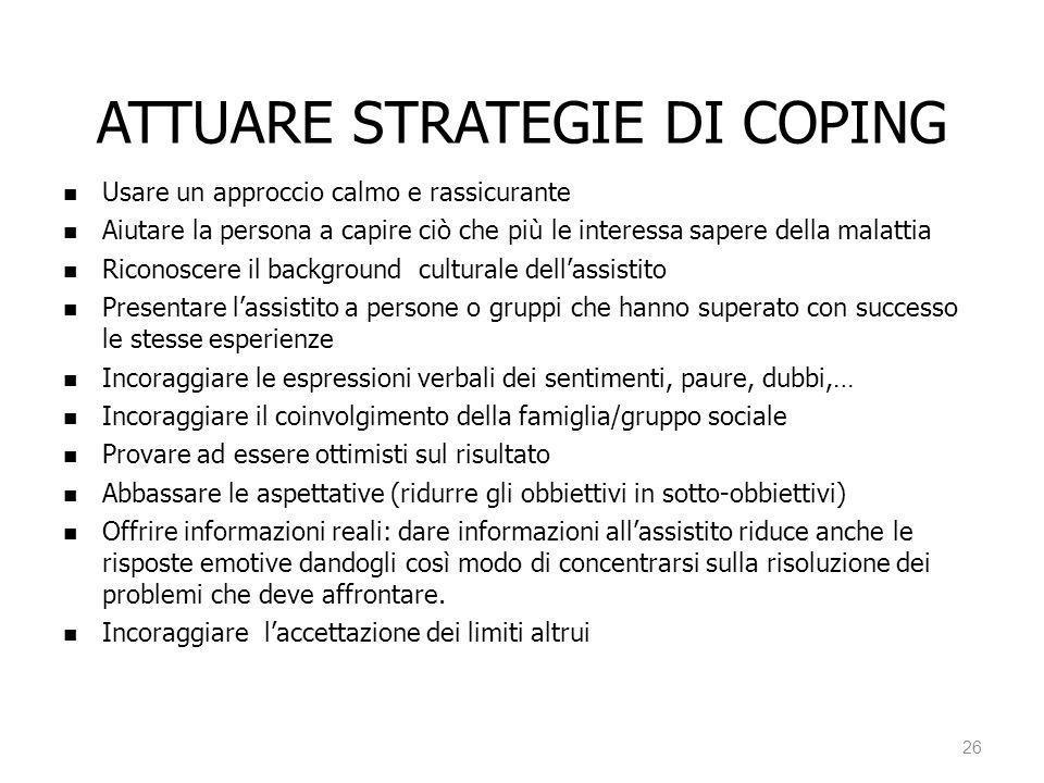 ATTUARE STRATEGIE DI COPING