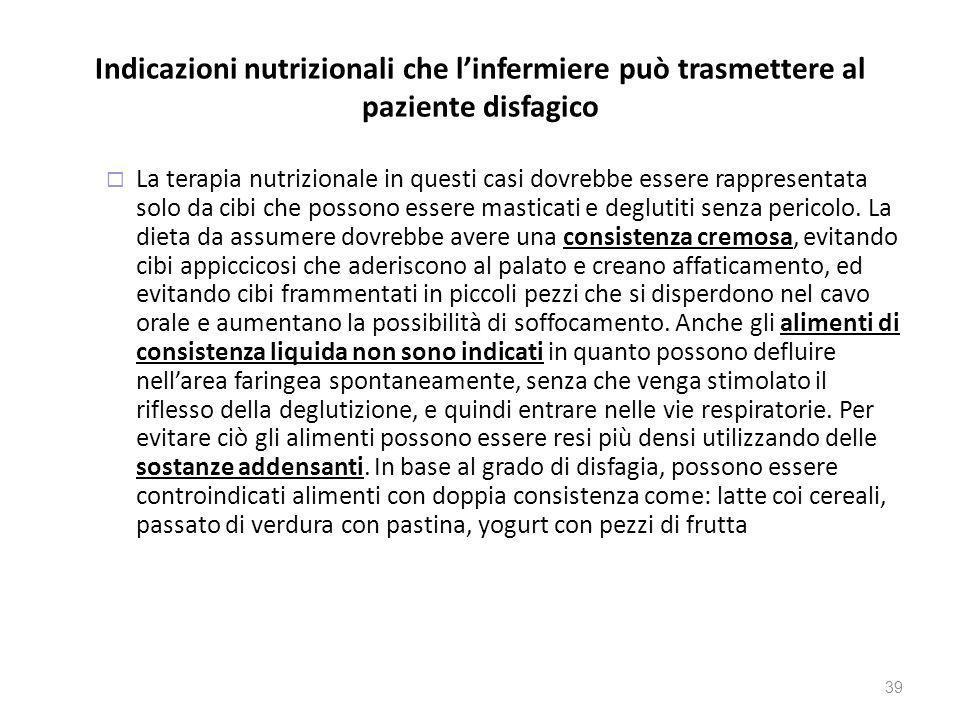 Indicazioni nutrizionali che l'infermiere può trasmettere al paziente disfagico