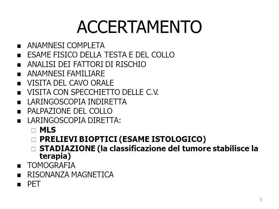 ACCERTAMENTO ANAMNESI COMPLETA ESAME FISICO DELLA TESTA E DEL COLLO