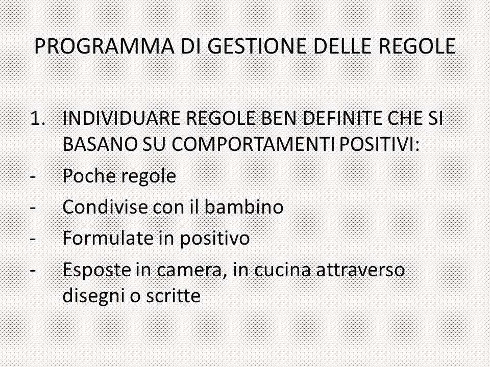 PROGRAMMA DI GESTIONE DELLE REGOLE