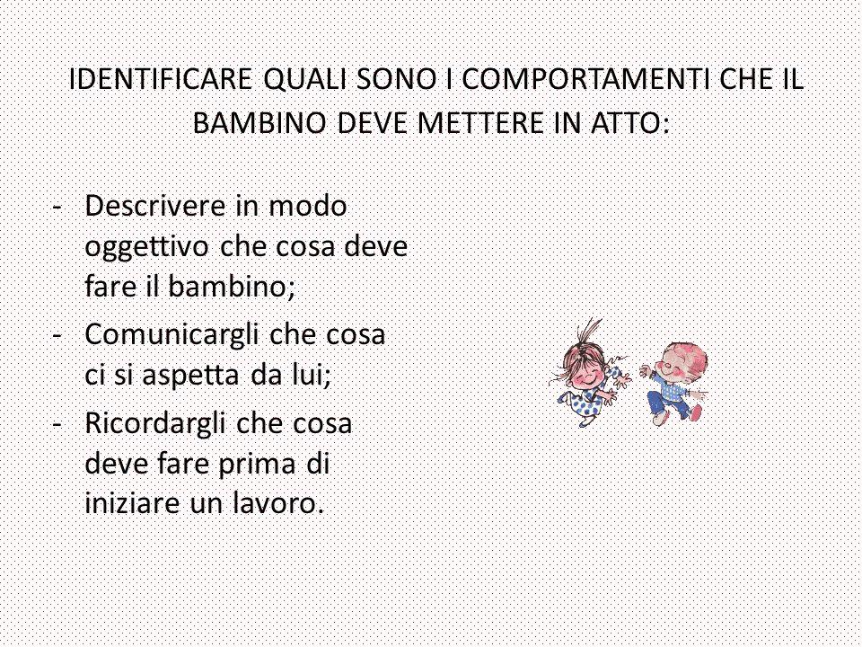 IDENTIFICARE QUALI SONO I COMPORTAMENTI CHE IL BAMBINO DEVE METTERE IN ATTO: