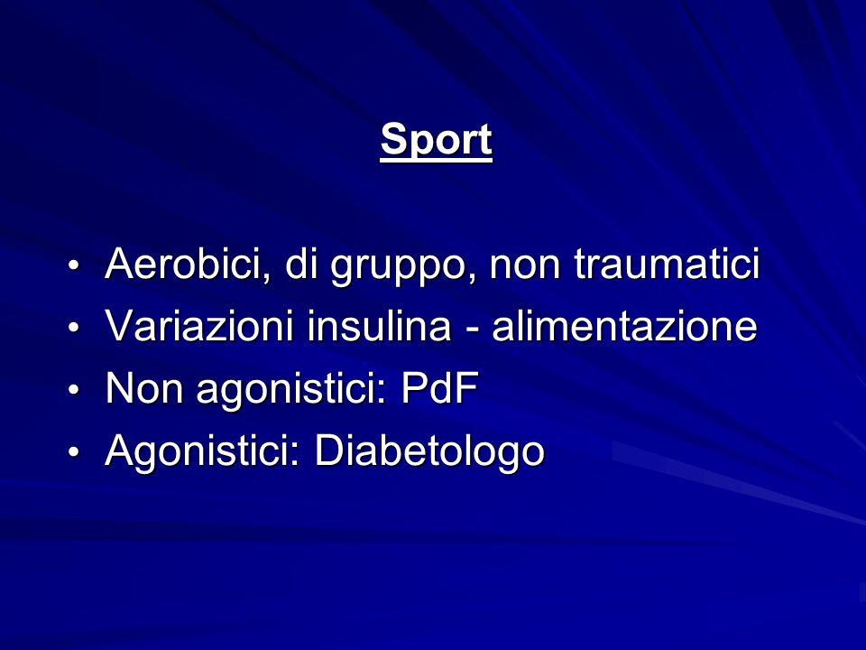 Sport Aerobici, di gruppo, non traumatici. Variazioni insulina - alimentazione. Non agonistici: PdF.