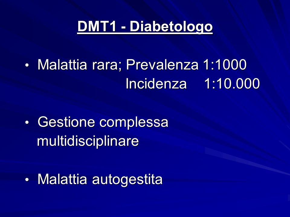 DMT1 - Diabetologo Malattia rara; Prevalenza 1:1000. Incidenza 1:10.000. Gestione complessa. multidisciplinare.