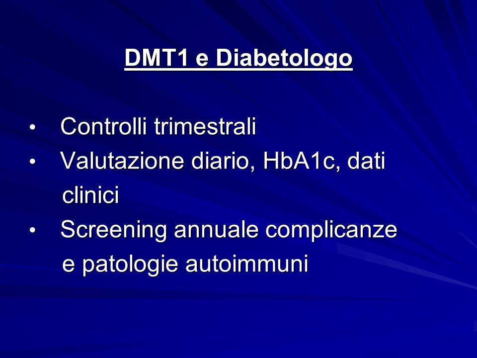 DMT1 e Diabetologo Controlli trimestrali. Valutazione diario, HbA1c, dati. clinici. Screening annuale complicanze.