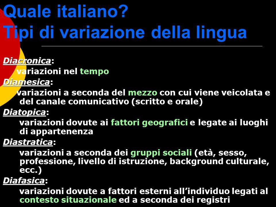 Quale italiano Tipi di variazione della lingua