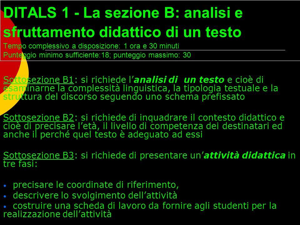 DITALS 1 - La sezione B: analisi e sfruttamento didattico di un testo Tempo complessivo a disposizione: 1 ora e 30 minuti Punteggio minimo sufficiente:18; punteggio massimo: 30