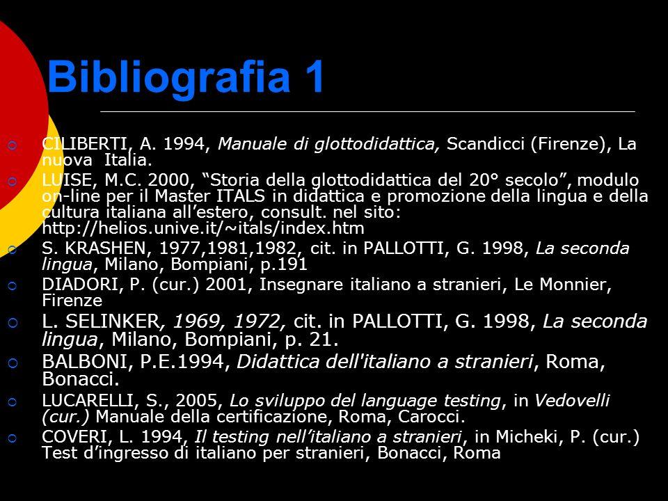 Bibliografia 1 CILIBERTI, A. 1994, Manuale di glottodidattica, Scandicci (Firenze), La nuova Italia.