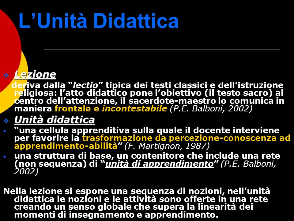 L'Unità Didattica Lezione Unità didattica