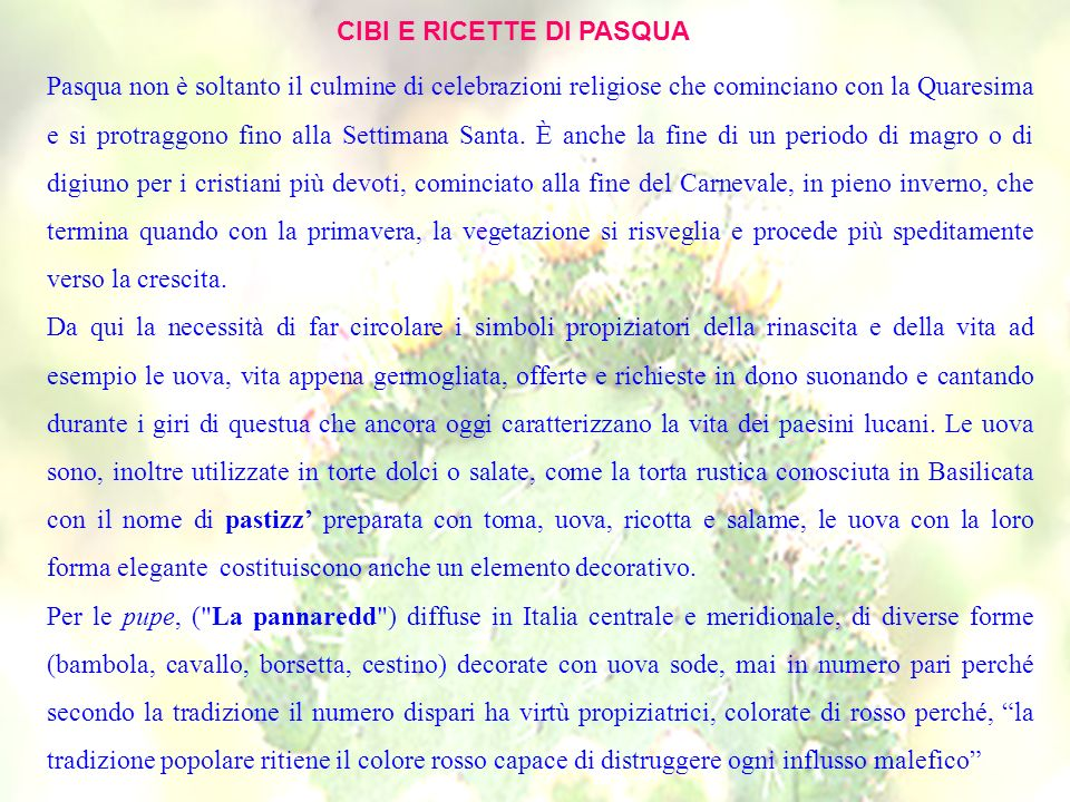 CIBI E RICETTE DI PASQUA