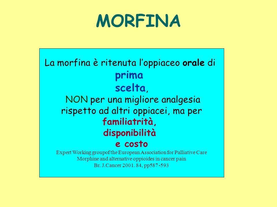 MORFINA prima scelta, La morfina è ritenuta l'oppiaceo orale di