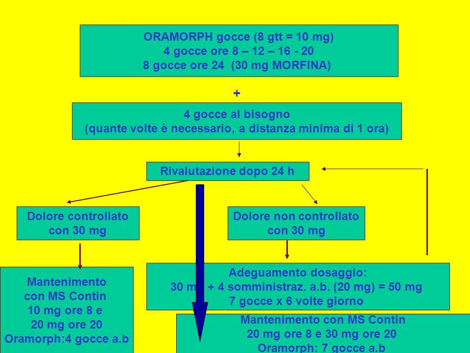 + ORAMORPH gocce (8 gtt = 10 mg) 4 gocce ore 8 – 12 – 16 - 20