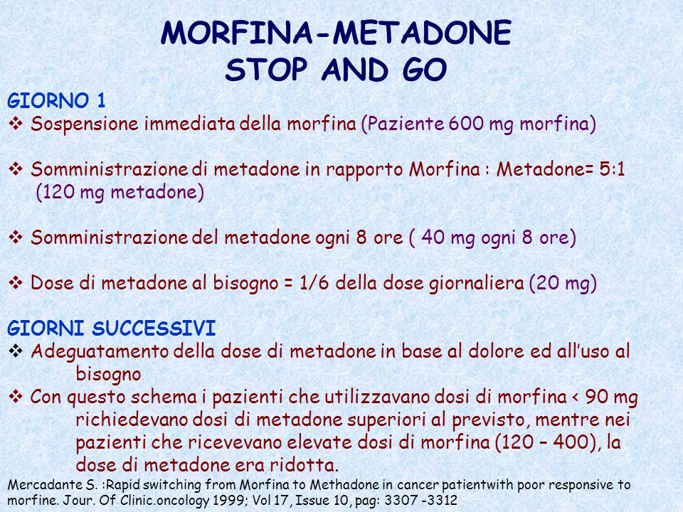 MORFINA-METADONE STOP AND GO