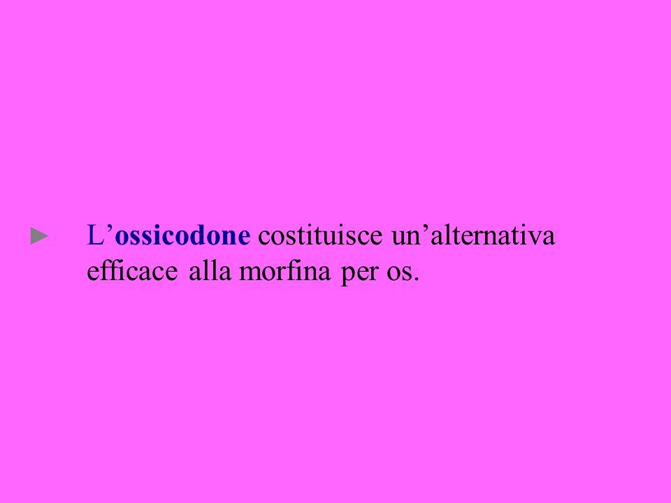 L'ossicodone costituisce un'alternativa efficace alla morfina per os.