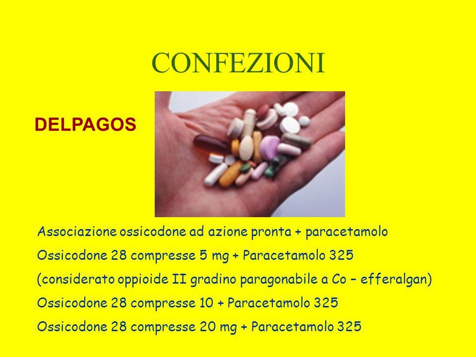 CONFEZIONI DELPAGOS. Associazione ossicodone ad azione pronta + paracetamolo. Ossicodone 28 compresse 5 mg + Paracetamolo 325.