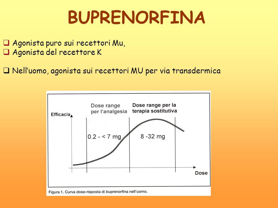 BUPRENORFINA Agonista puro sui recettori Mu, Agonista del recettore K