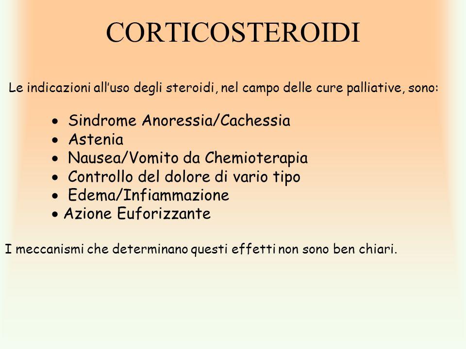 CORTICOSTEROIDI Le indicazioni all'uso degli steroidi, nel campo delle cure palliative, sono: Sindrome Anoressia/Cachessia.