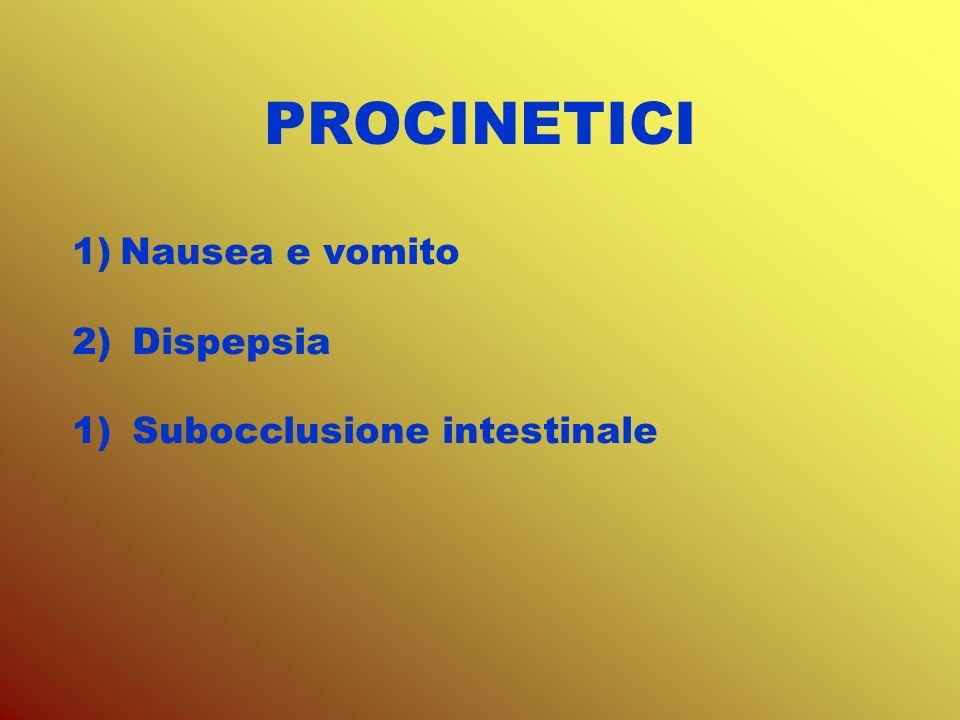 PROCINETICI Nausea e vomito Dispepsia Subocclusione intestinale