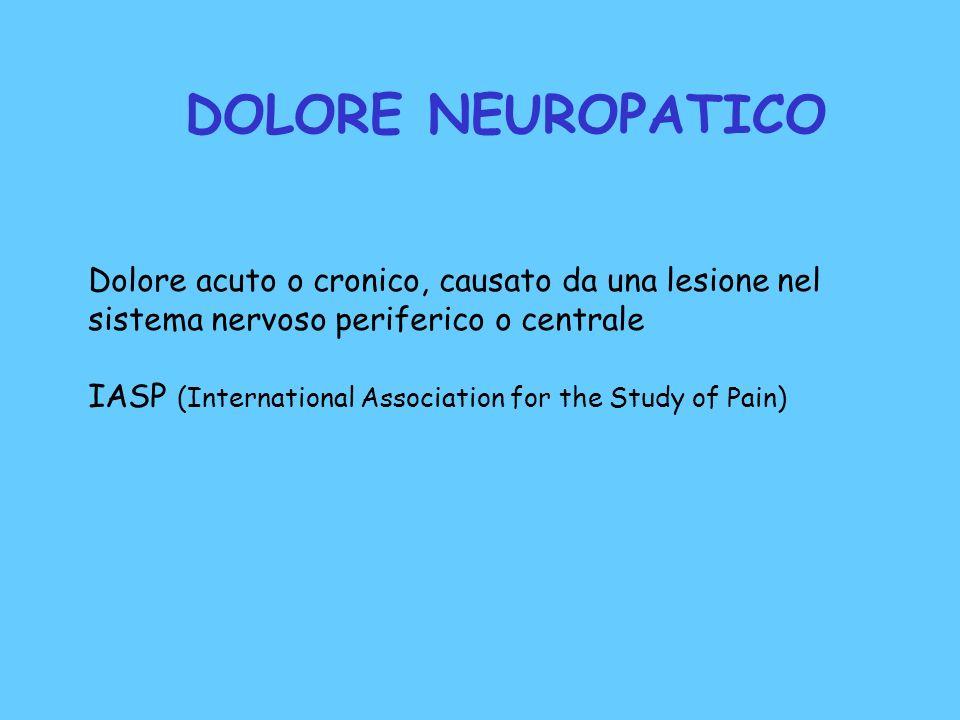 DOLORE NEUROPATICO Dolore acuto o cronico, causato da una lesione nel sistema nervoso periferico o centrale.
