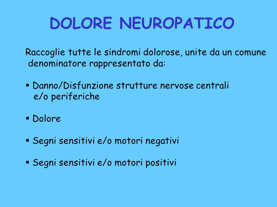 DOLORE NEUROPATICO Raccoglie tutte le sindromi dolorose, unite da un comune. denominatore rappresentato da: