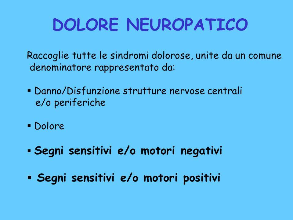 DOLORE NEUROPATICO Segni sensitivi e/o motori positivi