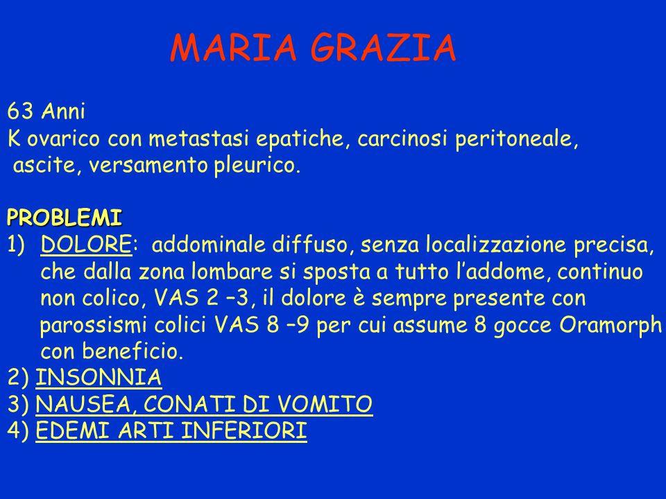 MARIA GRAZIA 63 Anni. K ovarico con metastasi epatiche, carcinosi peritoneale, ascite, versamento pleurico.