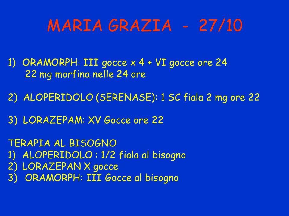 MARIA GRAZIA - 27/10 ORAMORPH: III gocce x 4 + VI gocce ore 24