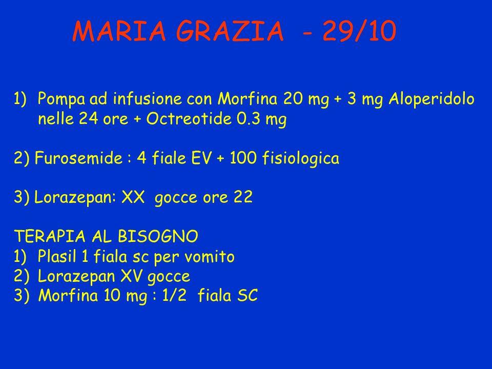 MARIA GRAZIA - 29/10 Pompa ad infusione con Morfina 20 mg + 3 mg Aloperidolo nelle 24 ore + Octreotide 0.3 mg.