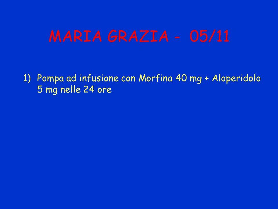 MARIA GRAZIA - 05/11 Pompa ad infusione con Morfina 40 mg + Aloperidolo 5 mg nelle 24 ore