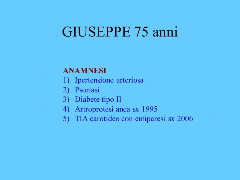 GIUSEPPE 75 anni ANAMNESI Ipertensione arteriosa Psoriasi