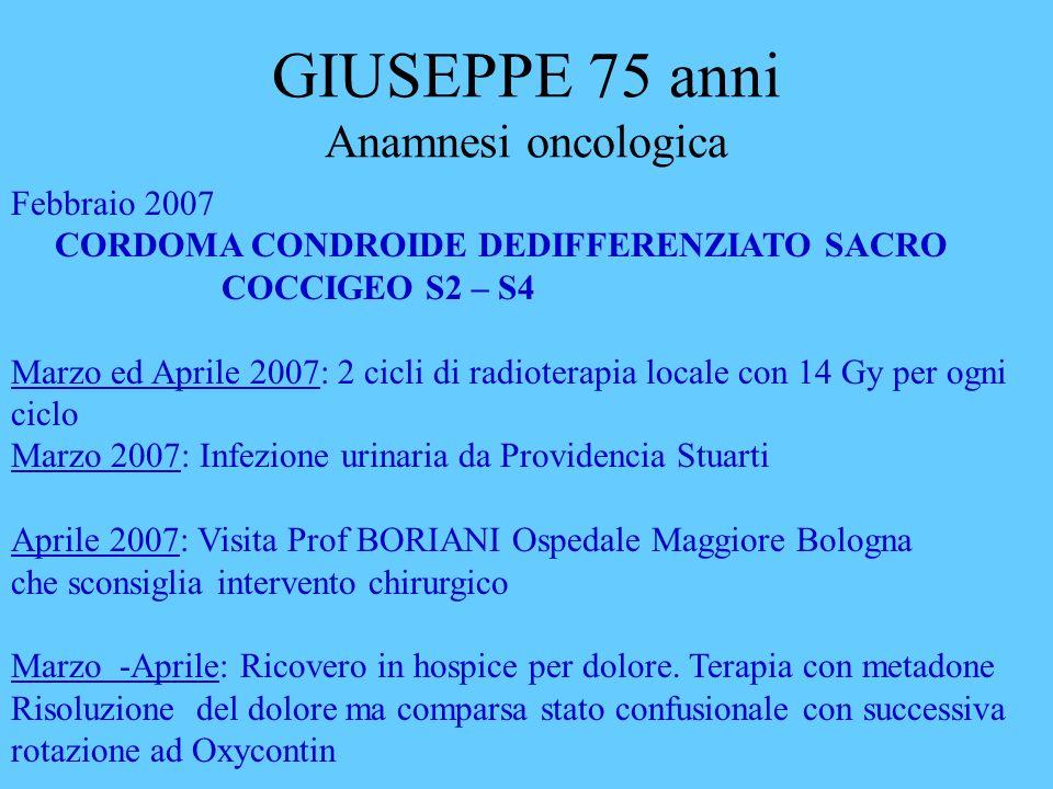 GIUSEPPE 75 anni Anamnesi oncologica
