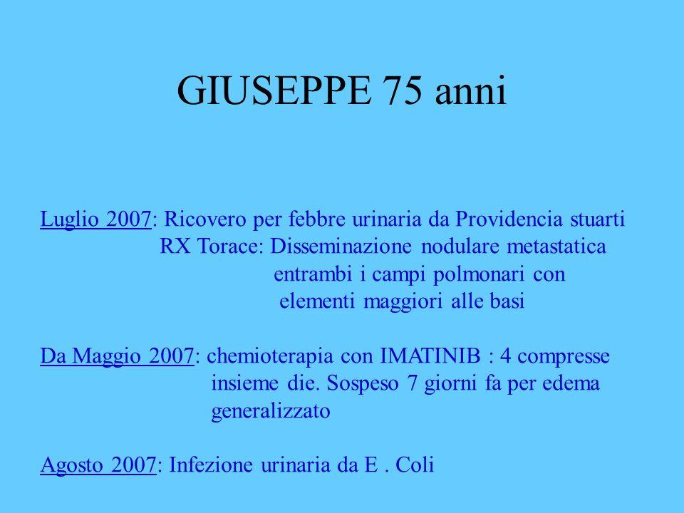 GIUSEPPE 75 anni Luglio 2007: Ricovero per febbre urinaria da Providencia stuarti. RX Torace: Disseminazione nodulare metastatica.